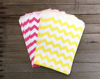 48 Yellow and Pink Favor Bags--Chevron Favor Bag--Candy Favor Bag--Chevron Goodie Bag--Chevron Party Sack--Birthday Treat Sacks