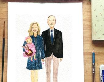 CUSTOM FAMILY portrait,11x14 inch.  Custom family illustration, Memorial Portrait ,custom portrait, watercolor portrait