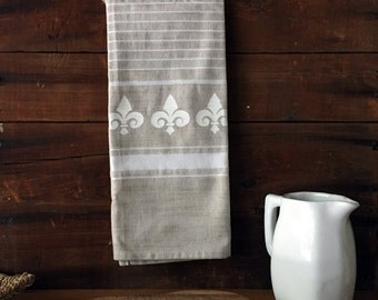 Fleur Kitchen Dish Towel. Fleur de lis tea towel, Beige & White, French country, Rustic, Shabby chic home decor, Hostess gift