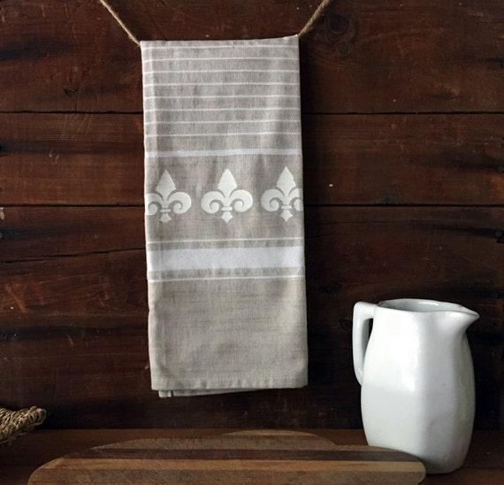 Dish Towel Sale: Sale Fleur Kitchen Dish Towel. Fleur De Lis Tea Towel Beige