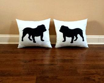 Bulldog Dog Silhouette Throw Pillow Set (set of 2), Decorative Pillow,Dog Pillow, Dorm Decor, UGA,Christmas Gift, Gift for Her, Gift for Him