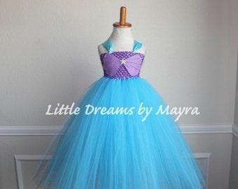 Mermaid birthday party dress - Mermaid princess dress - Mermaid tutu dress size nb to 9years