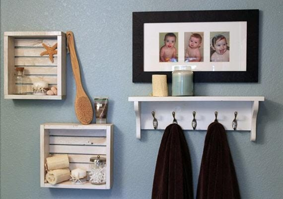 white bathroom shelf with hooks | My Web Value
