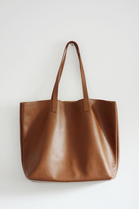 lila leather tote bag cognac brown by mishkabags on etsy