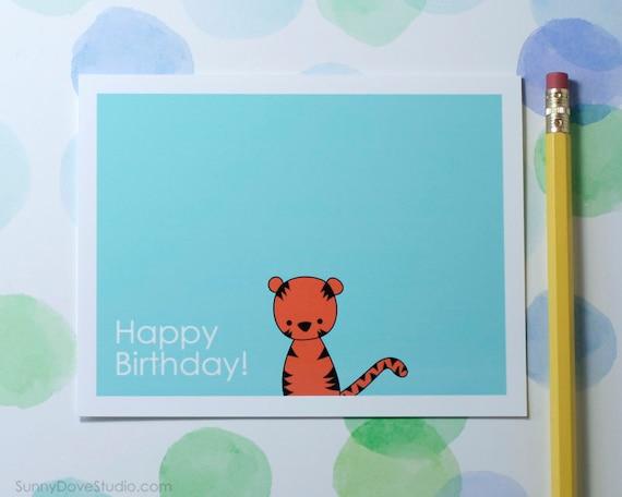 Cute Birthday Cards For Him ~ Cute tiger happy birthday card for friend by sunnydovestudio