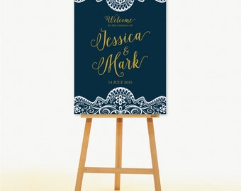 Wedding Signs Welcome to our Wedding Poster. Lace Theme Wedding Decoration.