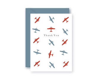 Thank You Cards  / Boxed Set of 10 / Preppy Airplane