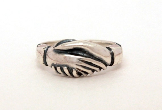 James Avery Sterling Friendship Ring Clasped Hands Hand