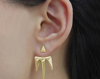 Gold Ear Jackets, Gold Earrings, Earring Jackets, Ear Cuff, Modern Gold Drops, Minimal Earrings, Edgy Earrings, Spikey Studs, Drop Earrings