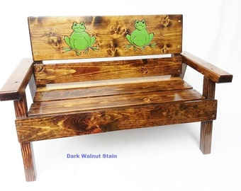 Childrens Wood Outdoor Bench, Kids Furniture Toddler +, Country, Farm, Patio ,