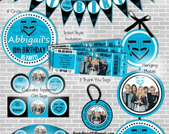R5 Party Package Blue or Pink wih Ticket Style Invitations - Printable and Customized with your personal party details.  Digital Files