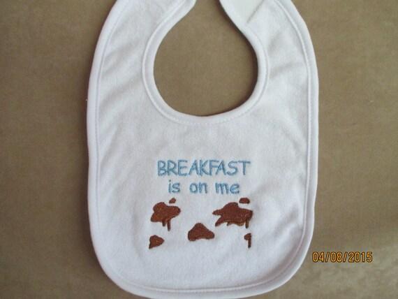 Baby bib gift breakast machine embroidery