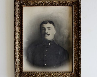 Vintage portrait. French vintage photo. Picture frame. Black and white. Vintage photograph. Antique frame. Military. France // C374