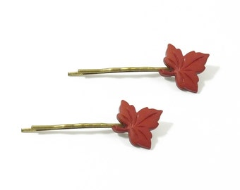 2 Red Leaves Hair Pins, Fall Leaf HairPin, Red Leaf Bobby Pin, Hair Clip, Fall Leaves, Stocking Stuffer, Gift Under 10, Hair Accessory