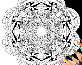 Octopus coloring etsy for Adult coloring pages nautical