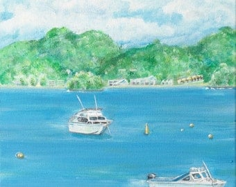 Painting of The Bay, NZ. Original art on canvas 20cm.