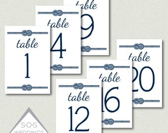 Reception Table Numbers, Wedding Table Numbers, Navy and White Wedding, Printable Table Numbers, Nautical Knot, Number Cards, Printable PDF