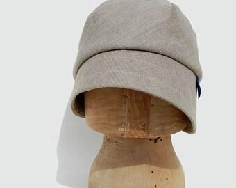French linen sun hat  Natural linen cloche ©ZUTkiki linen sun hat