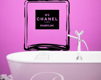 Chanel No 5 stencil large bottle Wall Art DECAL cc coco chanel paris Vinyl sticker home decor bathroom bedroom perfume glam parfum