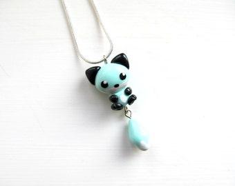 Fox Necklace Seafoam Green Fox Pendant Cute Fox Charm