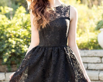 Evelyn Lace Overlay Vintage Inspired Dress //Black // Custom