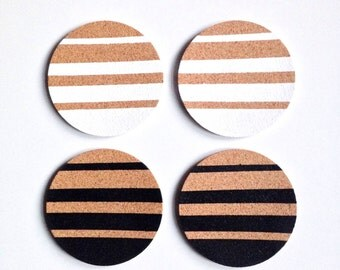 Black + White Ombre Stripped Cork Coasters | Round Coasters | Barware | Drinkware | Set of 4