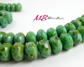 Large 11x7mm 25 pcs Full Coat Picasso Turquoise Beads, Faceted Rondelle, Puffy Donut Beads