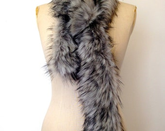 Faux Fur Scarf - Grey Black Faux Fur Collar - Grey Fox Fake Fur Scarf Winter Accessories for Women - Fur Collar - Gift for Her - Handmade UK