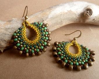 Turquoise earrings,  Boho Earrings,  Dangle Earrings, Beadwork Earrings,  Bohemian Jewelry, Gypsy Earrings, Bohemian earrings, gift for her