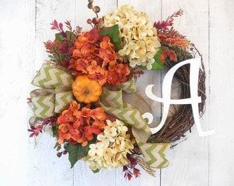 Fall wreaths, Fall initial wreath, Pumpkin wreaths, Hydrangeas, Elegant Fall, Door wreaths, Autumn, Harvest, Door decor, Wreaths for fall