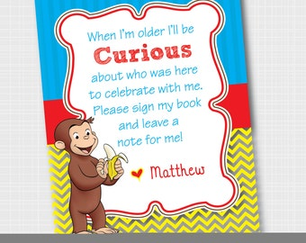 Curious George Guestbook Sign {Digital Download} Curious George Birthday