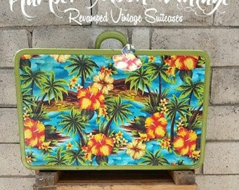 Revamped Vintage 1960s Suitcase made by Western Mfg. Company- Tropical Island print