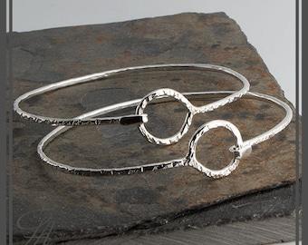 Hammered Cuff Karma Bracelet,Eternity Bracelet,Silver Bangle Bracelet,Eternity Circle,Cuff Bracelet,Sterling Silver,Handmade Cuff