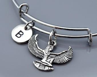 Isis bangle, Egyptian goddess Isis, Silver Isis, Winged Isis, Egyptian theme, Aset, Iset, Expandable bangle, Charm bangle, Initial bracelet