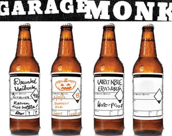 Writable beer bottle, growler or keg labels. Ice-proof, dishwasher safe and erasable by Garagemonk