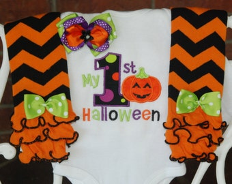 Baby Girl First Halloween Outfit! Baby Girl My 1st Halloween Outfit/Pumpkin Halloween Outfit/Halloween leg warmer outfit/Halloween Outfit