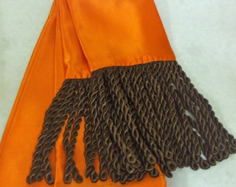 Orange Polyester Satin Sash w/Chocolate Brown Fringe for Pirate, Ren Faire, Cosplay
