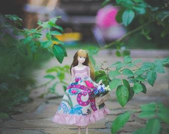 pale pink blue linen Dress for Momoko doll - momoko dress - momoko clothes - momoko doll