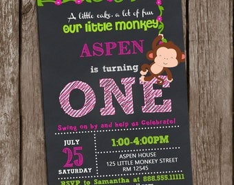 Monkey invitation Birthday, Little Monkey Girl Invitation, Jungle Invitation, Party Personalized Printable,DIY