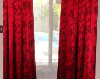 "2 Red with Black Cherry Blossom silk brocade blackout curtain panels with grommets 44"" wide each"