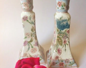 Chinese Porcelain Candle Holders / Set Of Chinese Porcelain Candlesticks / Candle Holders / Floral Candlesticks / Porcelain Candle Holder /