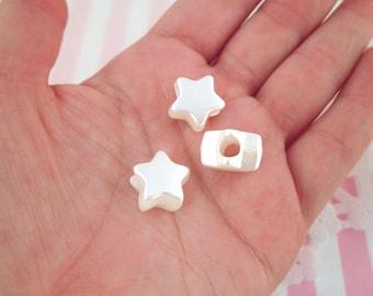 White Pearl Star Beads, 13mm Kawaii beads #730