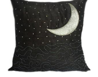 Starry Night Pillow Star and Moon Pillow Moon Pillow Covers Moon and Star Pillows Black and Silver Pillows Night Sky Pillows
