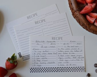 Assorted Black & Cream Patterned Recipe Cards