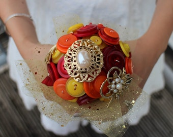 Autumn wedding bouquet - fall wedding bouquet - alternative wedding - button bouquet - brooch bouquet - gold bouquet