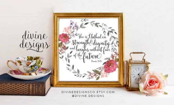 Inspirational Wall Print Proverbs 31 25 She Is Clothed In