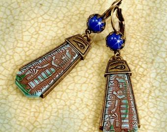 Egyptian Earrings, Eye of Horus, Eye of Ra, Eye of Horus Earrings, Egyptian Jewelry, Blue Earrings, Egypt, Hieroglyphics, Pharoah E305