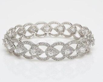 Crystal Bangle, Teardrop Bracelet, Wedding Bracelet, Bridal Bracelet, Wedding Jewelry, Bridal Jewelry, Sarojini Wedding Bracelet, IN STOCK