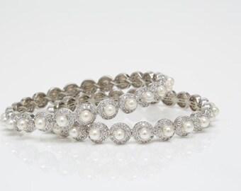 Pearl Bracelets, Wedding Bracelets, Bridal Bracelet, Crystal Bracelets, Pearl Wedding Jewelry, Minnati Set of 2 Pearl Bracelets