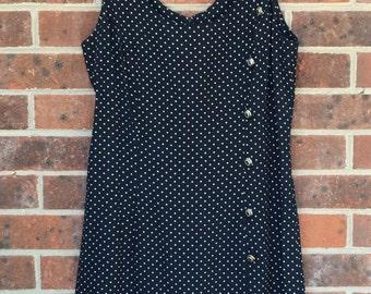 vintage Blondie and Me black polka dot drop-waist dress